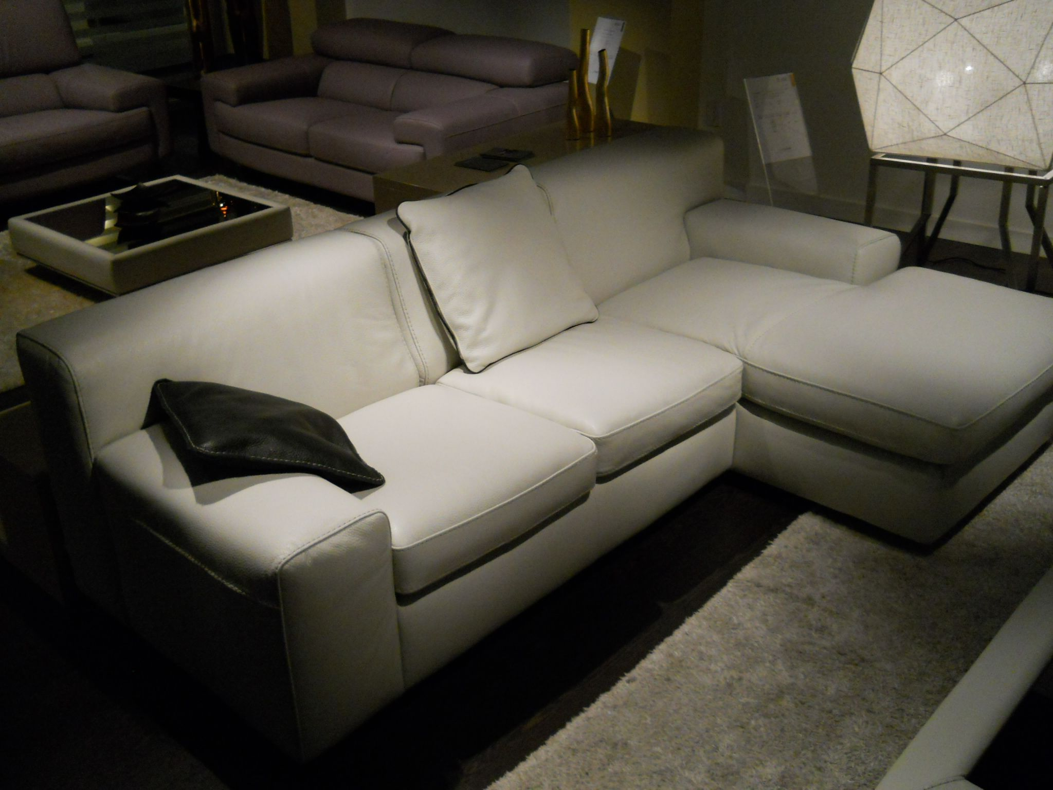 Off White Condo Size Leather Sectional Sofa Made In Italy