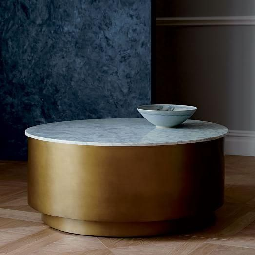 Marble Top Br Metal Drum Coffee Table Decor Furniture