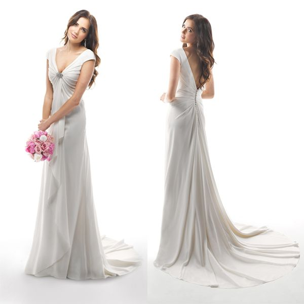 B17 2014 New Fashion V-Neck Floor-Length Beaded Cap Sleeve Deep V Back  Chiffon Long Beach Wedding Dresses 8b7aed25f7ea