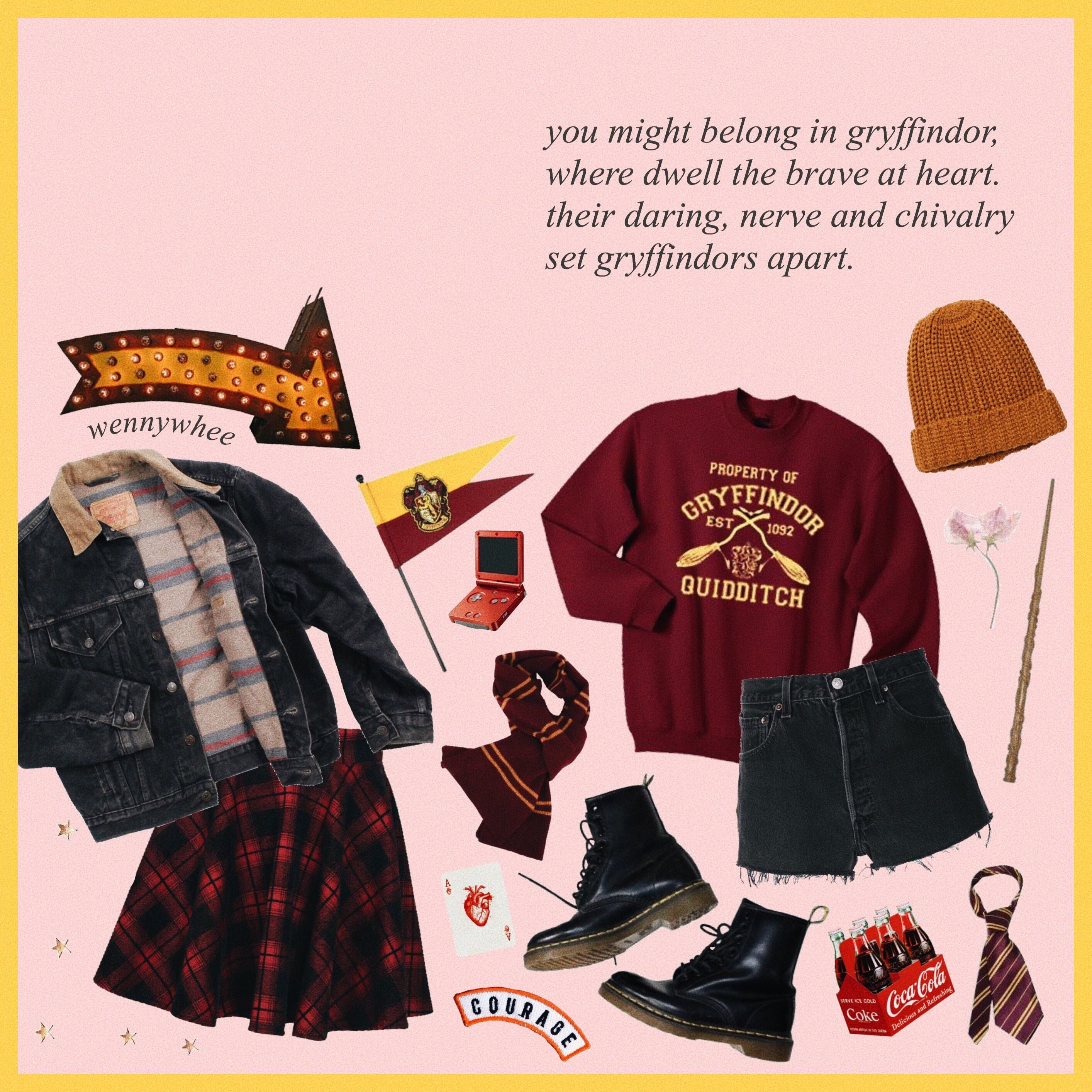 Gryffindor Mood Board Outfit Inspiration Aesthetic Harry Potter Outfits Gryffindor Outfit Hogwarts Outfits Gryffindor
