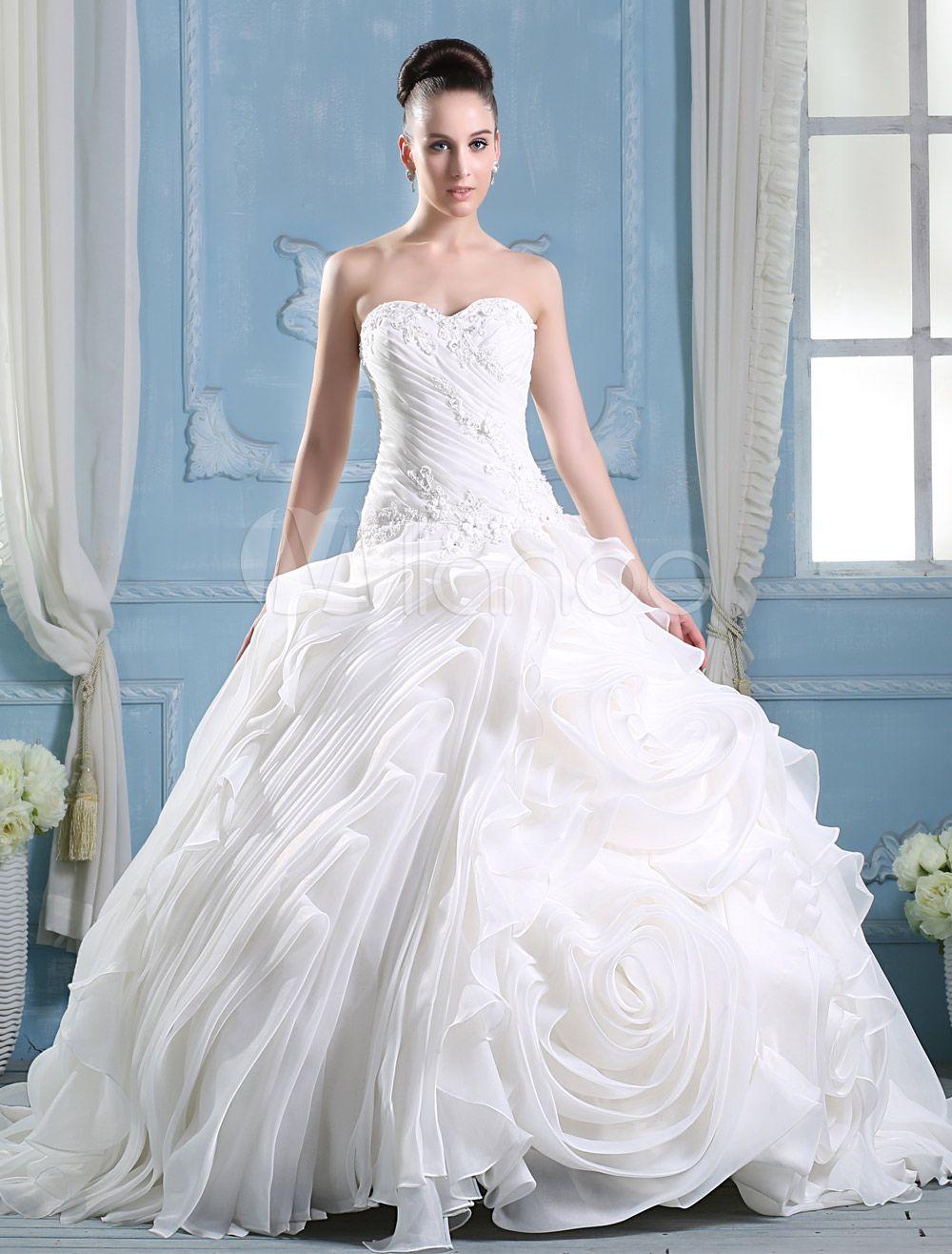 Ivory Sweetheart Neck A-line Strapless Flower Wedding Dress ...