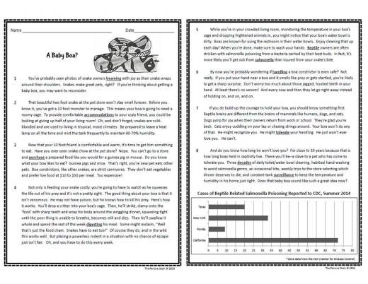 5th grade persuasive text study baby boa passage from the