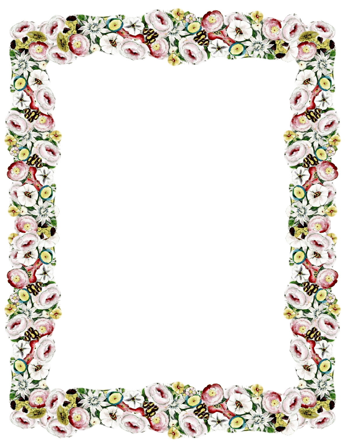 Free Digital Vintage Flower Frame And Border Png