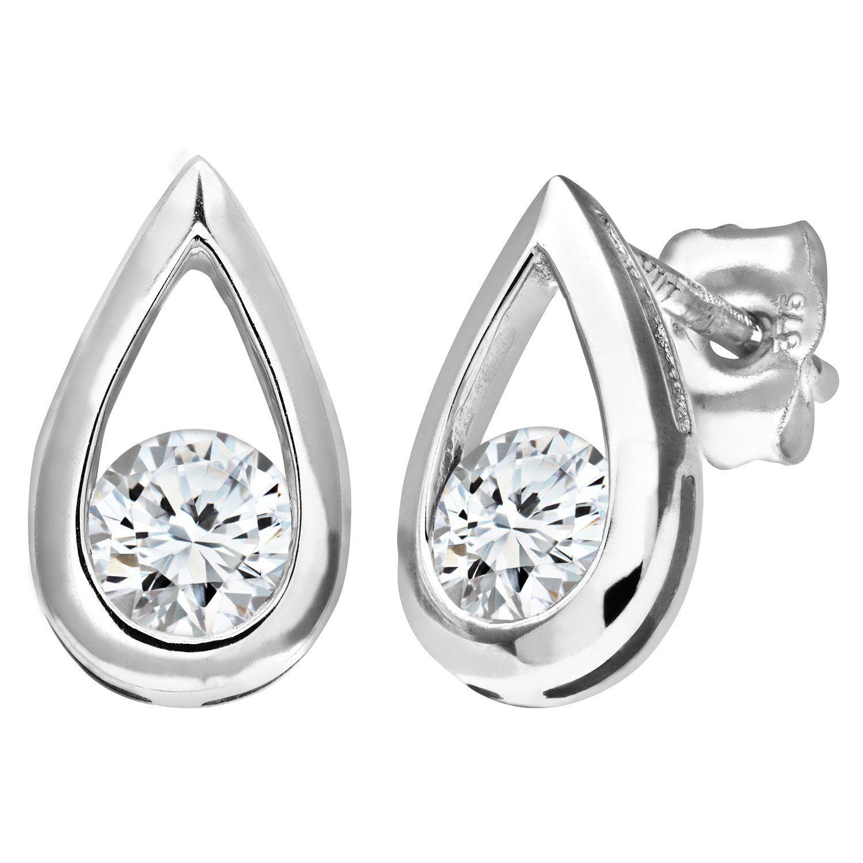 Naava 9ct White Gold Teardrop Earrings HimTD