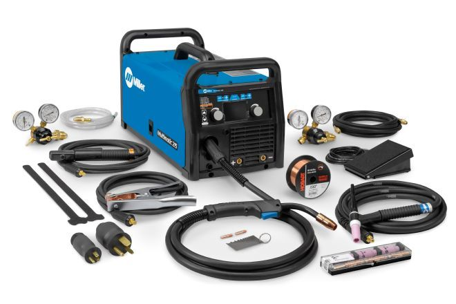 Miller Multimatic 215 Delivers Mig Tig And Stick Welding From One Machine Welding Projects Welding And Fabrication Welding Machine