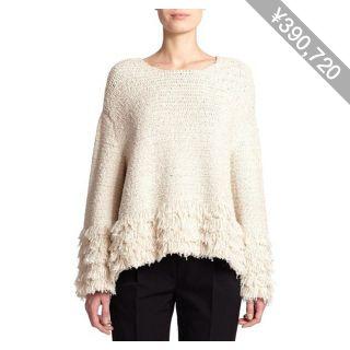 The Row Laina Fringed Boucle Sweater