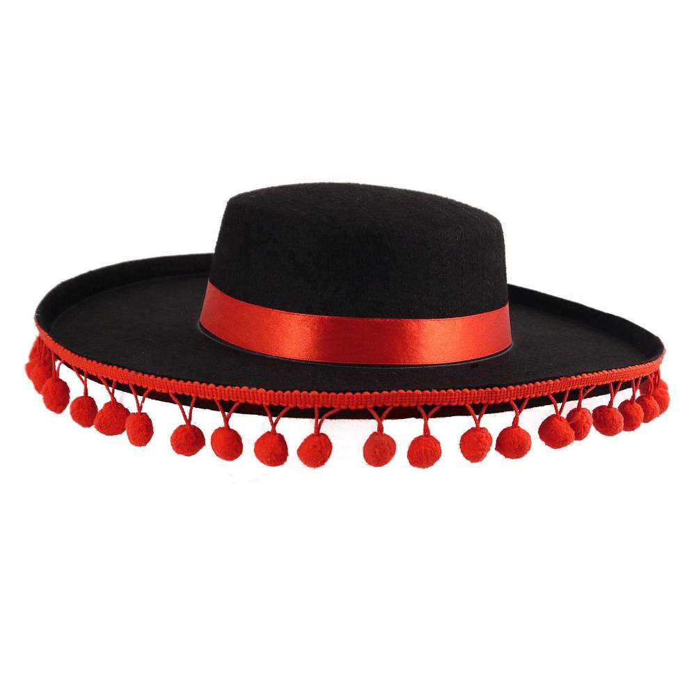 الإسبانية قبعة مزركشة تقليم اسبانيا مصارع الثيران ماتادور الأحمر الفرقة الأسود يتوهم اللباس متعة Sa2714 صورة قبعات الحفلة معرف Spanish Hat Hats Fancy Outfits