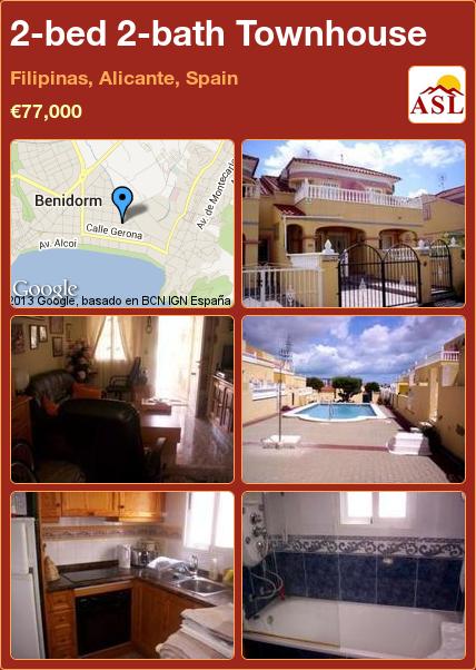 2bed 2bath Townhouse in Filipinas, Alicante, Spain €