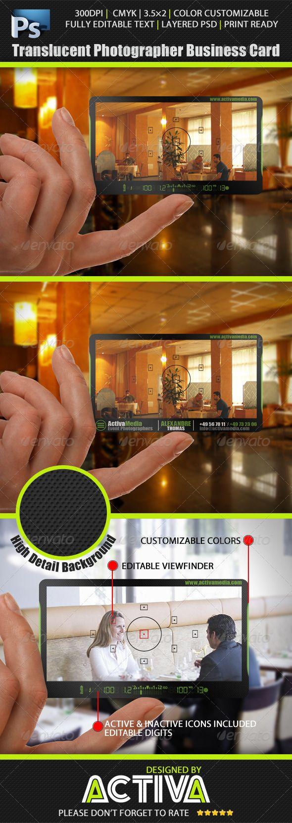 Translucent Photographer Business Card http://www.bce-online.com/en ...