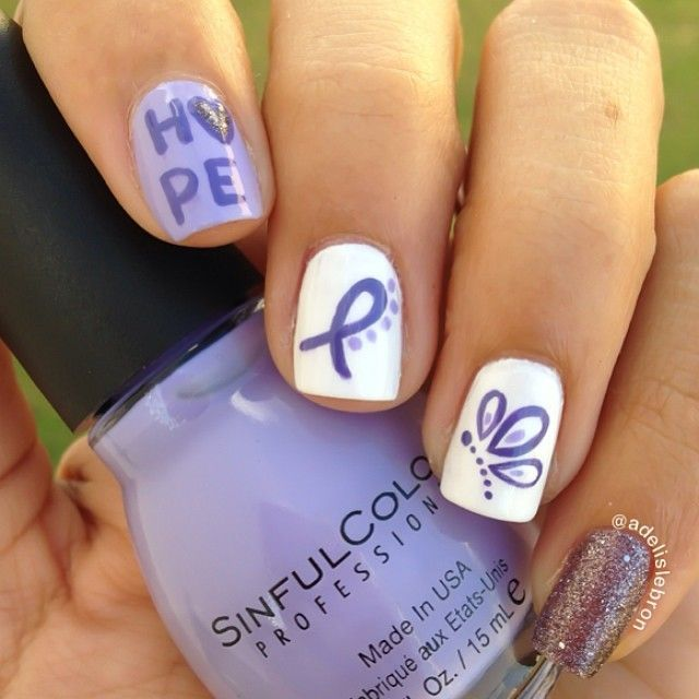 pretty lavender butterfly Lupus Awareness nails