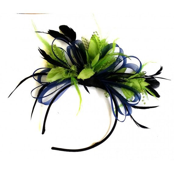 44cfe3280a836 Navy Blue & Lime Green Feathers Fascinator On by Caprilite on Etsy ...