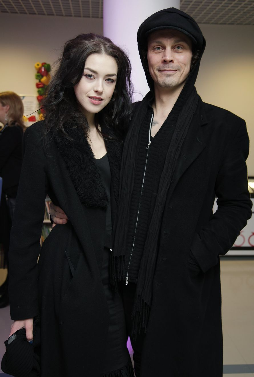 Ville valo looks very happy with his girlfriend christel