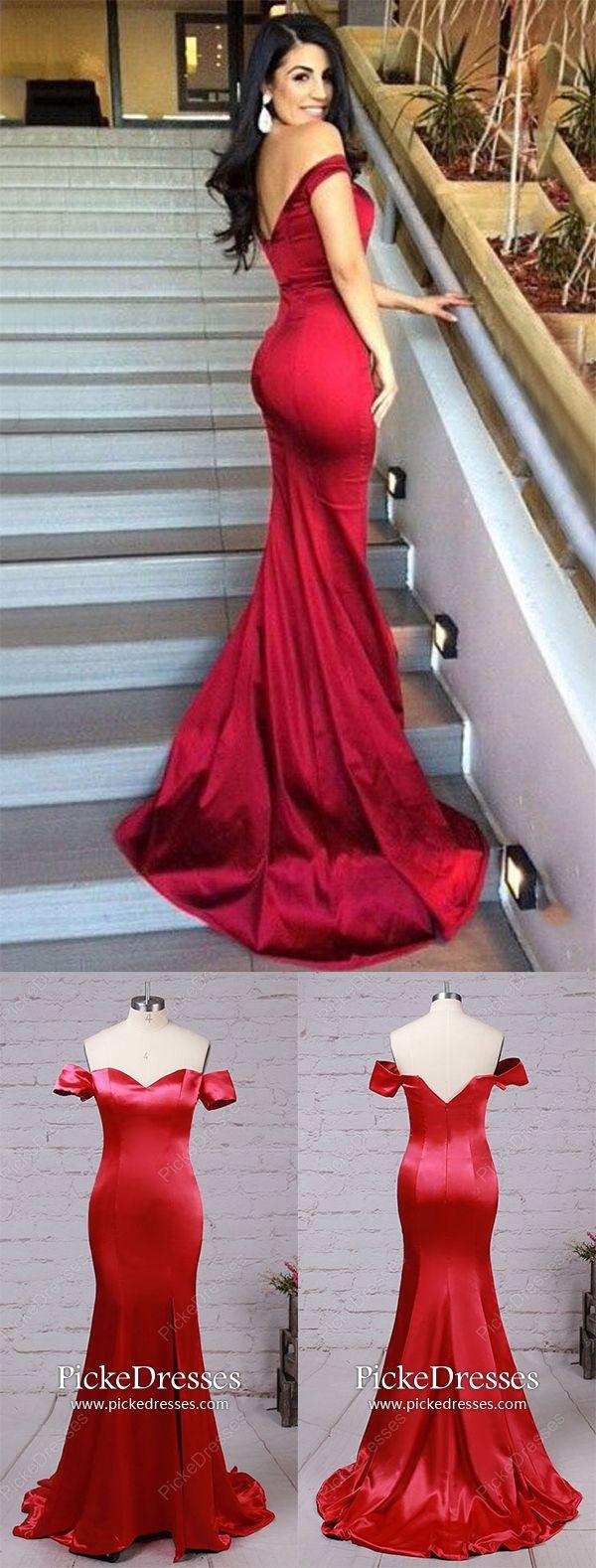 Burgundy prom dresses long mermaid formal dresses with slit simple