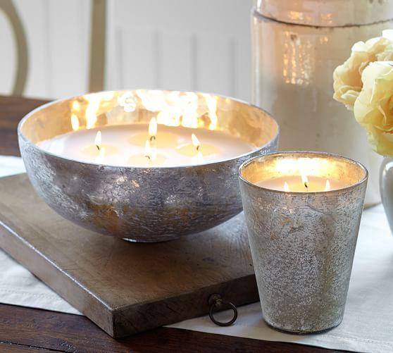 Rough Cast Gl Scented Candle Pot Mandarin Cedar Pottery Barn