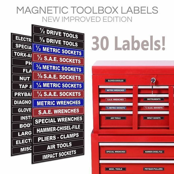 Adjustable Magnetic Toolbox Labels For All Tool Chests Blue Series Professional Home Garden Tools Magblue001 Tool Box Tool Box Storage Organizing Labels