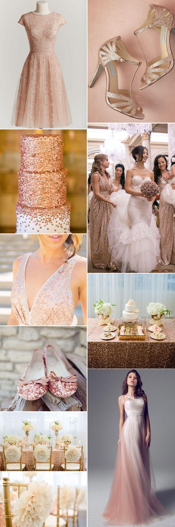 Rose colored wedding dress  Rose Gold Wedding Inspiration  Romantic weddings Metallic and Romantic