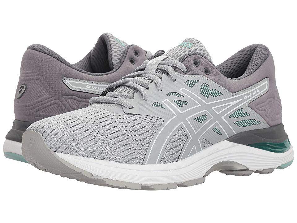 Asics Gel Flux 5 Mid Grey White Opal Green Women S Running Shoes The Asics Gel Flux 5 Running Shoe Womens Running Shoes Asics Asics Running Shoes