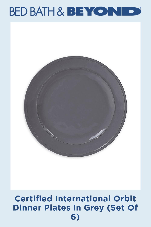 Certified International Orbit Dinner Plates In Grey (Set Of 6)