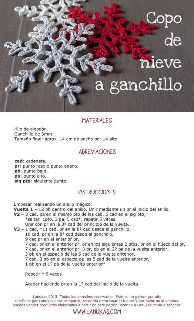 Patrón de Copo de Nieve a ganchillo (Lanukas) | Felicitaciones ...