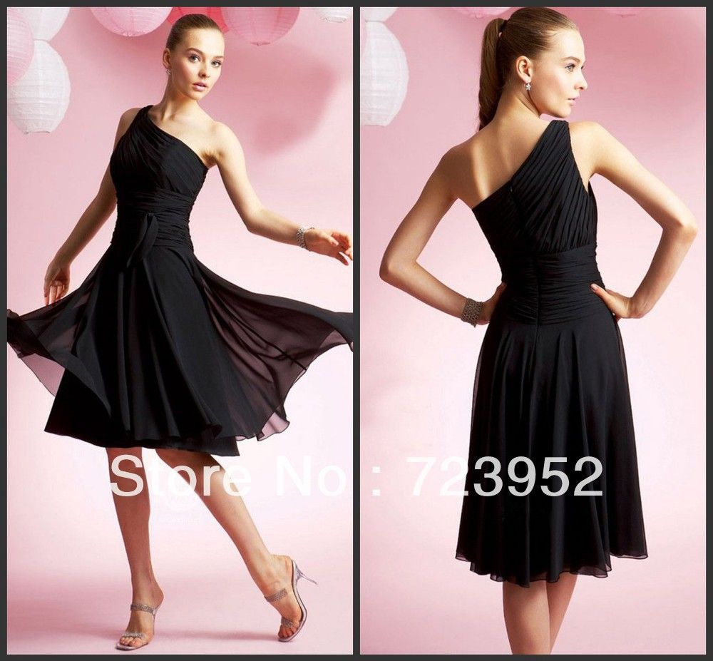 Free shipping fashion flowy lovely one shoulder black chiffon free shipping fashion flowy lovely one shoulder black chiffon short bridesmaid dress in bridesmaid dresses from apparel accessories on ali ombrellifo Images