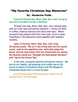 Christmas Memories Personal Narrative Example Teacher Modeling