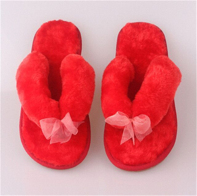 Women shoes Autumn Winter Non-slip Home Bowknot Cotton Plush Slippers Women Indoor\ Floor Slippers Girl Flip Flops Flat Shoes