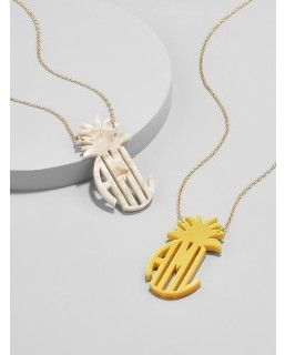 Acrylic block pineapple pendant necklace pineapple palooza stand tall wear a crown and be sweet on the inside with this acrylic pendant necklace immortalize your own initials your sos or an acronym in a bold aloadofball Gallery