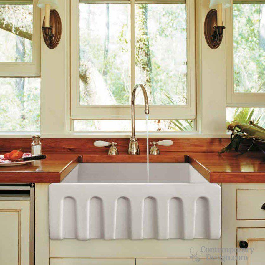 Fluted sink contemporarydesign fireclay farmhouse