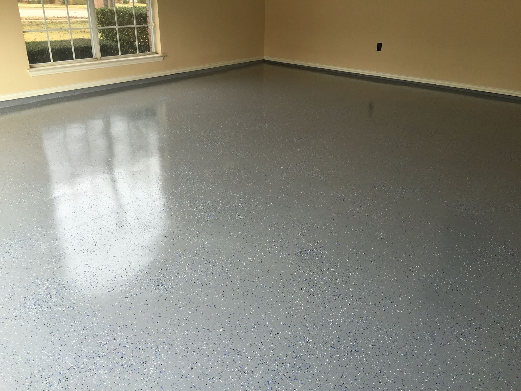 Garage Floor After Still Have The Baseboards And Walls To Paint Flooring Baseboards Remodeling Projects