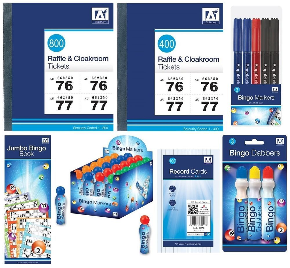 raffle tickets bingo pads markers cloakroom tombola lottery numbers anker 1