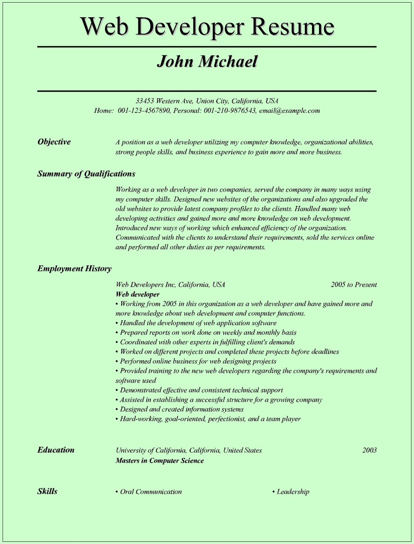 Cv Templates Developer (2 in 2020 Web developer resume