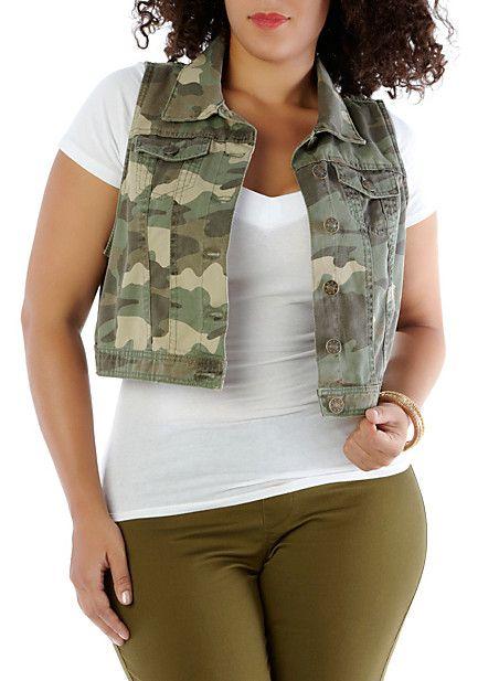61356d86187 Plus-Size Camo Denim Vest