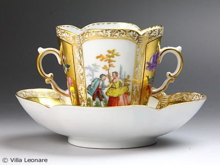Dresden Helena Wolfsohn Watteau style double handle cup & saucer