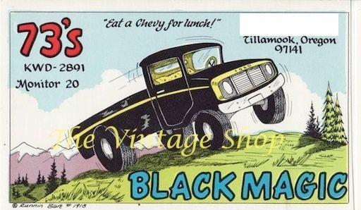 Black Magic Truck .. Runnin Bare QSL Radio Trade by thevintageshop, $3.95