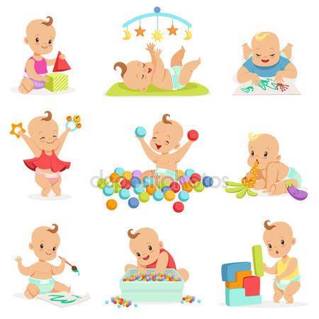 Descargar Dibujos Animados Femeninos Adorables Bebés Jugando Con Su Peluche Juguetes Y Serie De Herramientas De Desarrollo De Dibujo De Bebé Bebé Feliz Bebe