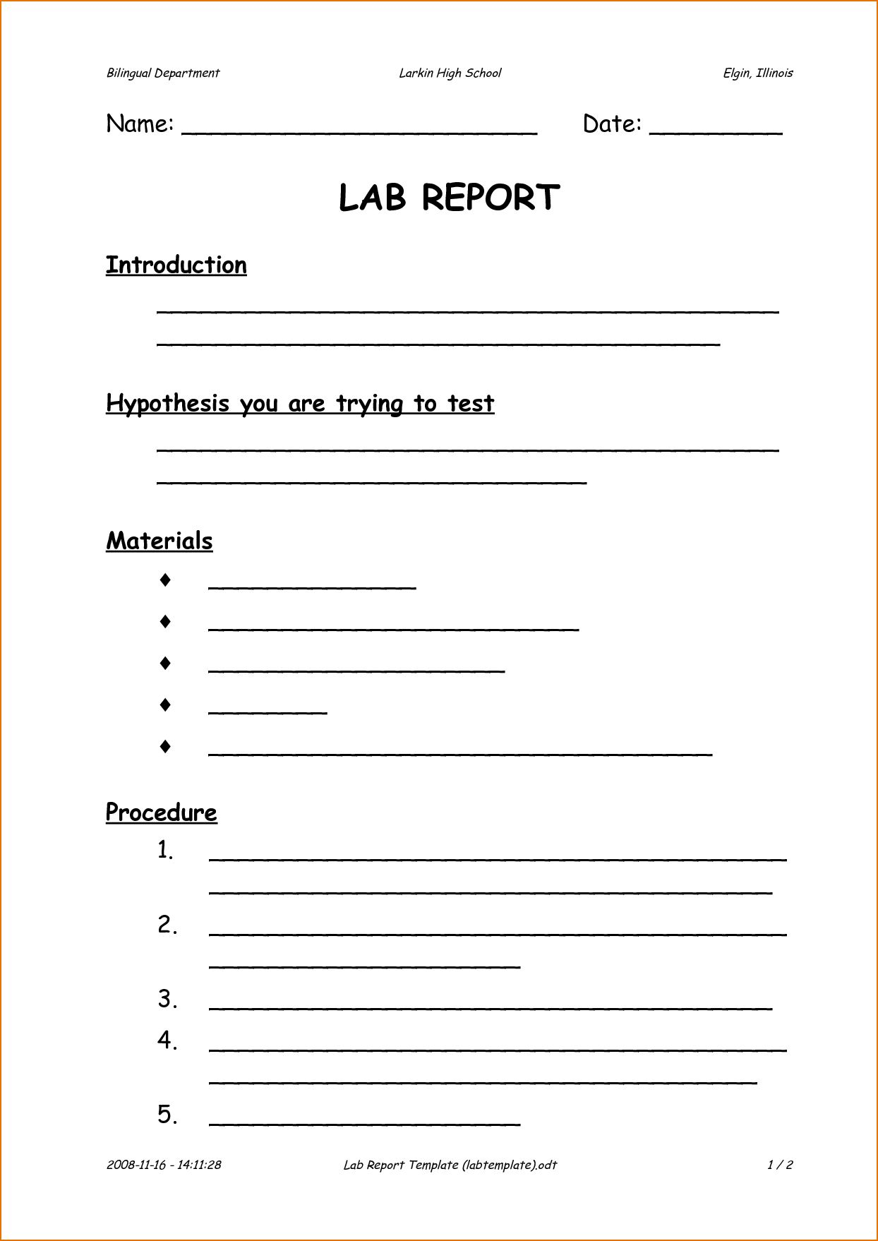 Internal Audit Report Template Iso 9001 And 6 Formal Lab Pertaining To Internal Audit Report Templat In 2020 Lab Report Template Scientific Method Worksheet Lab Report