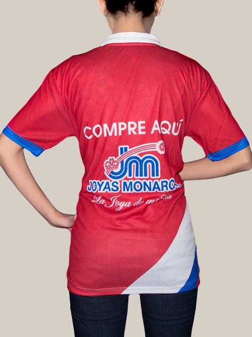 Playera Uniformes Monarca. Playera para uniforme sublimado por ambos lados en corte. Tela Micropiqué.