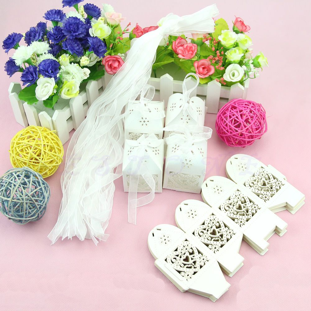 Lot New Love Heart Laser Cut Candy Gift Boxes With Ribbon Wedding ...