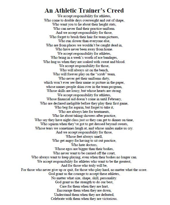 An Athletic Trainers Creed