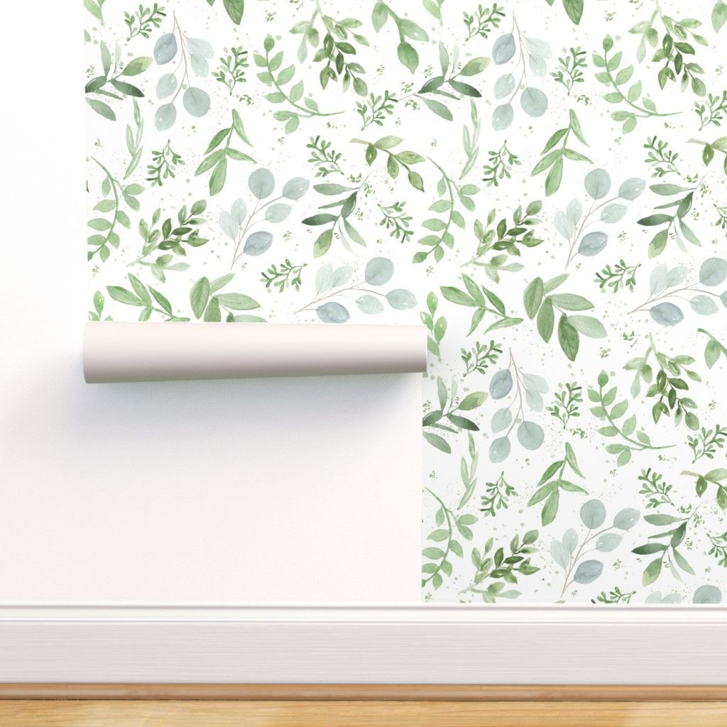 Colorful Fabrics Digitally Printed By Spoonflower Seamless Watercolor Larger Leaves Pattern 1 Botanical Wallpaper Removable Wallpaper Wallpaper Roll