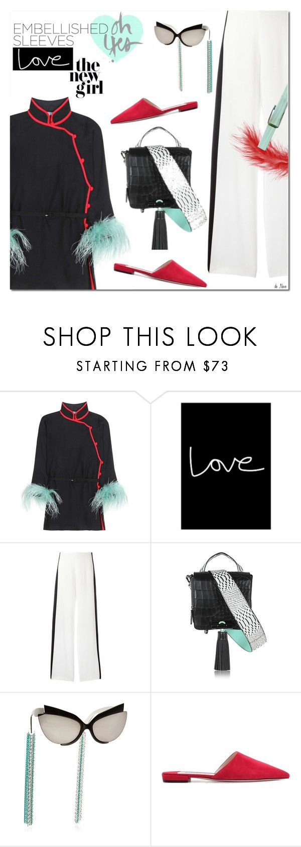 """""""PRADA, Embellished Blouse"""" by deneve ❤ liked on Polyvore featuring Prada, Alberta Ferretti, Kenzo and SpringStyle"""