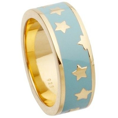 Astley Clarke Colour Star Shower 18ct Gold Vermeil Stacking Ring , Duck Egg featuring polyvore fashion jewelry rings bracelets duck egg flower jewelry flower ring stackable rings gold vermeil ring vermeil ring