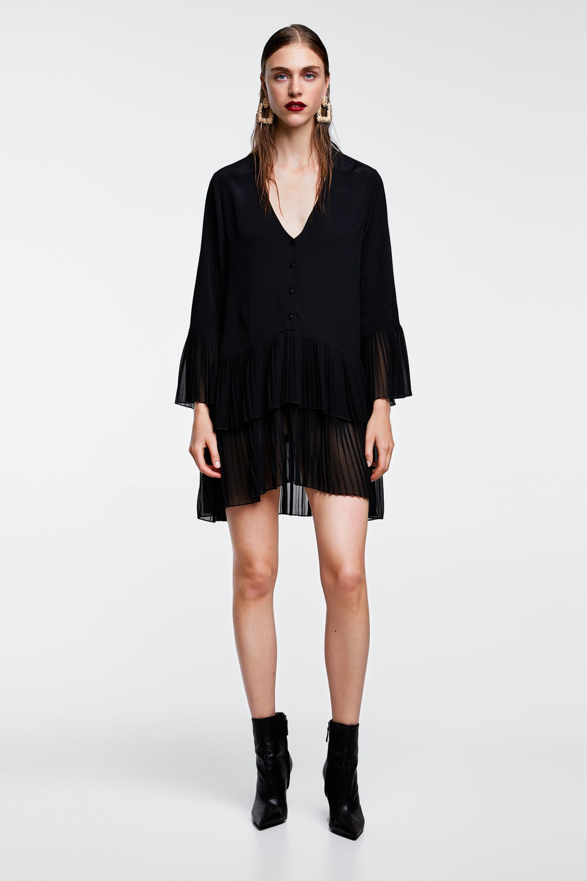 e1a2114af8fcc Image 1 of CONTRASTING PLEATED BLOUSE from Zara