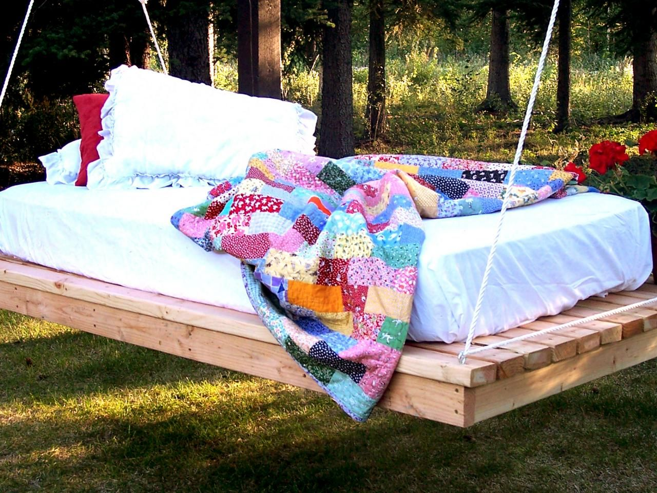 Learn to build your own hanging daybed for outdoor lounging.