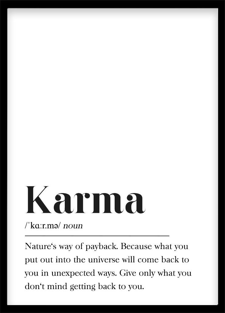 Karma Definition Print Printable Wall Art Print Happy Wall Art Motivation Gift Typography Buddhism, Law of Attraction, Footnote