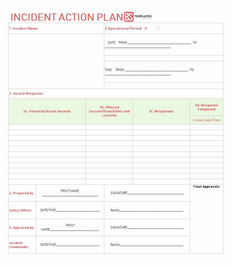 Incident Action Plan Example Elegant Action Plan Templates