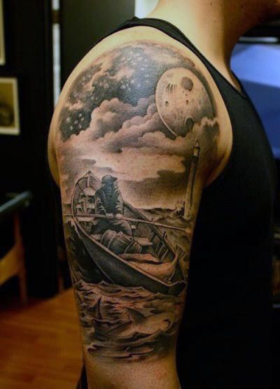 Guy With Moon And Clouds Tattoo Cloud Tattoo Cloud Tattoo Design Sleeve Tattoos