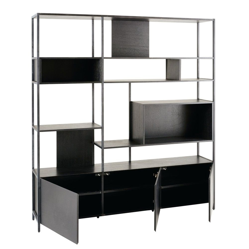 biblioth que 3 portes en m tal noir portes en m tal m tal noir et maison du monde. Black Bedroom Furniture Sets. Home Design Ideas