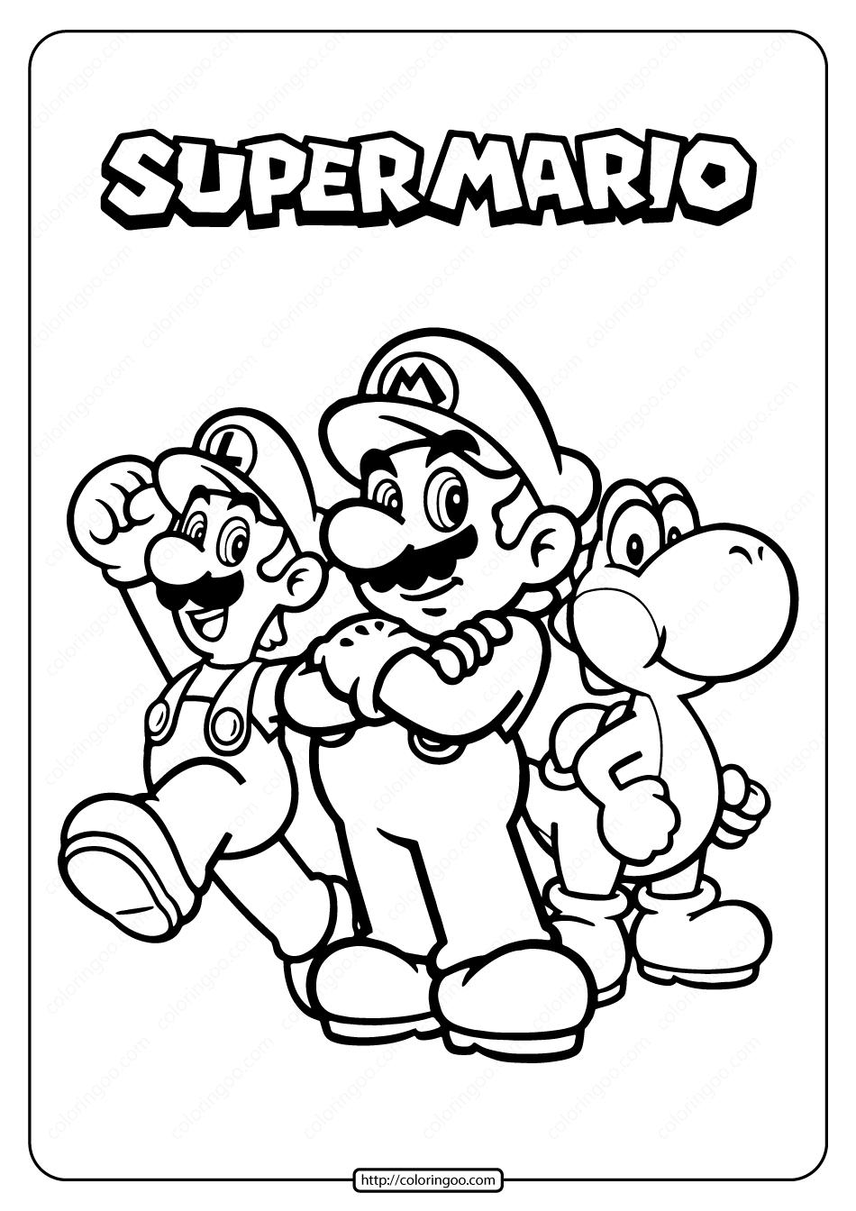 Free Printable Super Mario Pdf Coloring Page in 2020