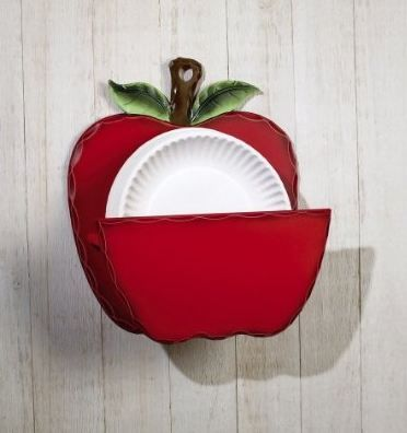 Country Kitchen Red Apple Paper Plate Holder Home Decor